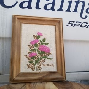 Vintage Embroidered Star Thistle Plant Wall Art
